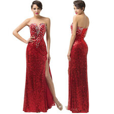 2017 Sequins RED Formal Long Bridesmaid Prom Party Cocktail Gown Evening Dresses