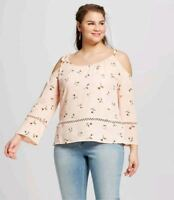 Perch by Blu Pepper Cold Shoulder Printed Blouse in Blush Size 2XL NWT $49