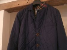 Joules Quilted Coat UK Men Size Small- Corduroy Patch Elbows - blue lightweight