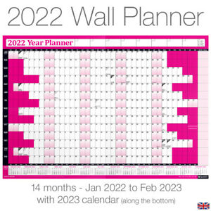 2022 Calendar Planner Yearly Annual Wall Chart PINK B3 size + FREE Desk Calender