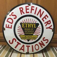 Vintage Ed's Refinery Station Porcelain Sign gasoline oil gas Rare Pump Can Tire