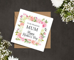 MOTHERS DAY card my wonderful MUM Mam Nana pink white ROSES floral square frame