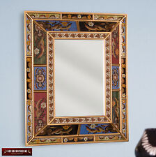 Peruvian Hand Painted Glass Art Decorative Wood Wall Mirror -  Home Wall Decor