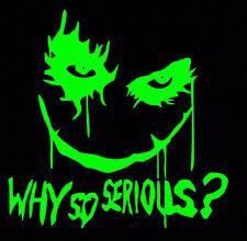 Green Joker Why So Serious Sticker Vinyl Decal Suicide Squad Harley Quinn Batman
