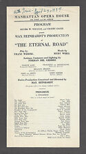"Max Reinhardt ""ETERNAL ROAD"" Kurt Weill / Lotte Lenya / Sam Jaffe 1937 Playbill"