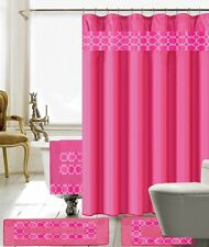 18 Piece Charlton Embroidery Banded Shower Curtain Bath Set (Hot Pink)