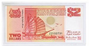 1991 SINGAPORE $2 Ship Series (Orange) Replacement Note Hu Tsu Tau, ZZ xxxxx UNC