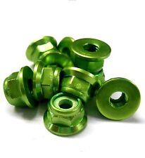 L1473 1/10 Scale RC Car Alloy M4 4mm Thread Nylon Lock Nuts Flanged x 10 Green
