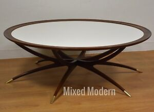 Danish Spider Leg Round Coffee Table Mid Century Modern White Walnut