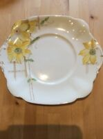 Vintage 1940s  China Yellow & Green Cake Plate ,