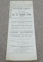 Bridge Lane - Golders Green - Vintage 1930 Estate Office Flyer & Deposit Receipt