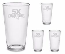 4 UNITS New England Patriots 5X Champions Beer Glasses FREE Decal Set x4 Etched
