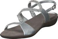 SCHOLL LINKOL GELACTIV scarpe sandali bassi donna casual pelle argento perline