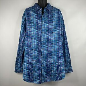 Robert Graham Turquoise Blue Multicolor Abstract Geo Flip Cuff Shirt Size 2XLT