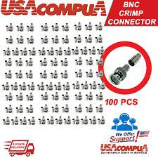 Crimp BNC Connectors Male RG59 Coax Coaxial  For CCTV Camera 100 pcs