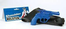 Blue Gangster Police Shoulder Holster & Toy Revolver Bond 007 Spy Gun
