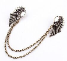 Wings Lapel Collar Brooch Chains Steampunk Antiqued Brass Pin Necklace Jewelry