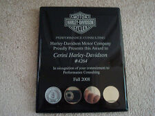 HARLEY-DAVIDSON MOTORCYCLES PERFORMANCE CONSULTING Black PLAQUE WITH 5 YEAR COIN