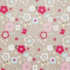 Clarke & Clarke Taupe/Beige Floral Retro Oilcloth PVC Tablecloth