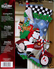 "Bucilla Cruising Santa ~ 18"" Felt Christmas Stocking Kit #86016 Motorcycle"