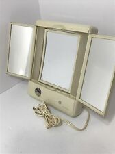 General Electric GE Makeup Mirror 3 Sided Mirror Folding Lighted Mirror Vintage