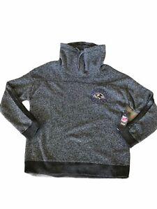 NWT$65 NFL Baltimore Ravens Women's Funnel Neck Fleece Sweatshirt Warm Gray  L