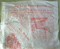Very Rare USA WWII Silk Scarf~Selma Times Journal~News Print~War End~White/Red