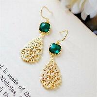 Hollow 18K Yellow Gold Filled Emerald Ear Hook Dangle Women Earrings Jewelry