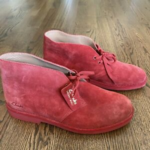 Clarks Men's Bushacre 2 Boot Suede Size 9 M - Cherry Suede Red New Sample