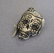 Mexican 925 Silver Taxco Dia de Muertos Day the Dead Sugar Skull Girl Pendant