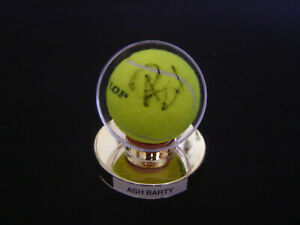 Ash Barty Signed Dunlop AO Tennis Ball in gold pedestal display