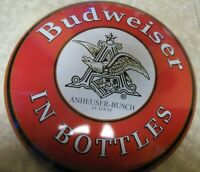 "Beautiful Large Budweiser In Bottles Round Metal Beer Sign 12"" NEW!"