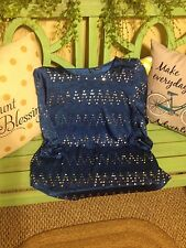 women's small blue sequin blouse