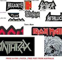 1 x MUSIC IRON ON PATCH, Acdc, Slayer, Kiss, Iron Maiden, Slipknot, Pink Floyd