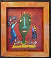 "John Sperry Outsider Southern Brut Folk Art Bird Man Painting ""My Bird Friends"""