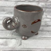 World Market 3D Elephant Embossed Textured Gray Ceramic Coffee Mug 16oz