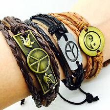 Wholesale Mix Styles 24PCs/Lot Handmade Leather surfer cuff Fashion Bracelets