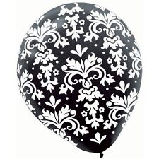 LATEX BALLOONS BLACK AND WHITE DAMASK PACK 20 PARTY DECORATIONS 30.4cm