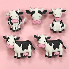 Dress it Up Buttons Mooove It  - 8977 - Cow Calf Black White