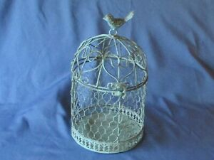 Decorative Ornamental Green Painted Wire Birdcage Freestanding Planter Candle