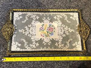 Rectangular Vintage Petit Point Filigree Vanity/ Dressing Table Tray CC