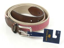 NEW MENS CLUB ROOM RED CHAMBRAY FAUX LEATHER TRIM WOVEN BELT SIZE 36