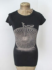 Retro steampunk fitted black t-shirt top big wheel antique bike rhinestones Sz S