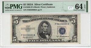 $5 1953A Silver Certificate Fr# 1656 FA Block PMG UNC 64 EPQ Priest Anderson