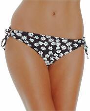 California Waves Bikini Bottom Sz M Black Floral Swimwear Swim Bottoms MY15288B