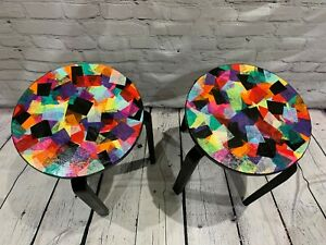 Pair of Upcycled Ikea Stools, Hand painted using contemporary colourful design