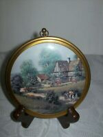 VINTAGE BRASS FRAMED ROUND PRINT OF COUNTRY MANOR