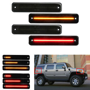 For Hummer H2 Front & Rear Sequential Dynamic LED Side Marker Light Amber Red 4x