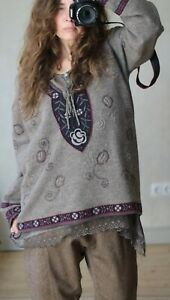 GUDRUN SJODEN boiled wool floral sweater size XL