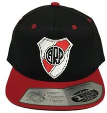 RIVER PLATE SOCCER HAT BLACK RED AFLEXFIT TECH 110 SNAP BACK FLAT BUILD